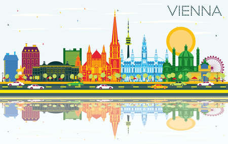 Vienna Austria City Skyline with Color Buildings, Blue Sky and Reflections. Vector Illustration. Business Travel and Tourism Concept with Historic Architecture. Vienna Cityscape with Landmarks. Vector Illustratie