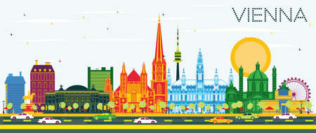 Vienna Austria City Skyline with Color Buildings and Blue Sky. Vector Illustration. Business Travel and Tourism Concept with Historic Architecture. Vienna Cityscape with Landmarks.