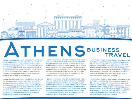 Outline Athens Greece City Skyline with Blue Buildings and Copy Space. Vector Illustration. Business Travel and Tourism Concept with Historic and Modern Architecture. Athens Cityscape with Landmarks.