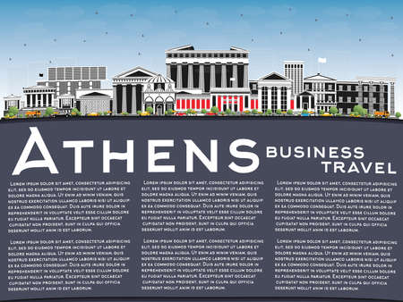 Athens Greece City Skyline with Color Buildings, Blue Sky and Copy Space. Vector Illustration. Business Travel and Tourism Concept with Historic and Modern Architecture. Athens Cityscape with Landmarks. Vettoriali