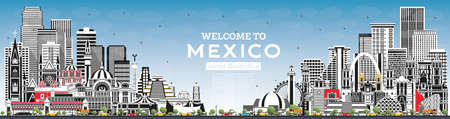 Welcome to Mexico City Skyline with Gray Buildings and Blue Sky. Vector Illustration. Concept with Historic Architecture. Mexico Cityscape with Landmarks. Puebla. Mexico. Tijuana. Guadalajara.