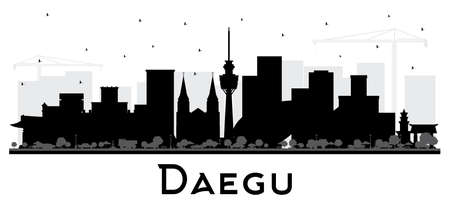 Daegu South Korea City Skyline Silhouette with Black Buildings Isolated on White. Vector Illustration. Tourism Concept with Historic and Modern Architecture. Daegu Cityscape with Landmarks. Vektorové ilustrace
