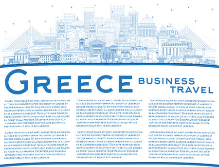 Outline Welcome to Greece City Skyline with Blue Buildings and Copy Space. Vector Illustration. Concept with Historic Architecture. Greece Cityscape with Landmarks. Athens. Thessaloniki. Patras. Ilustração Vetorial