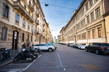 Milan. Italy - May 21, 2019: Via Fratelli Ruffini Street in Milan.