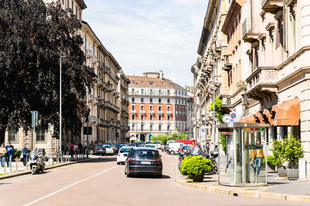 Milan. Italy - May 22, 2019: Via Caradosso Street in Milan. Historic Architecture. Shops and Restaurants.