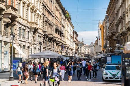 Milan. Italy - May 22, 2019: Via Dante Street in Milan. Crowd of People. Pedestrian Street.