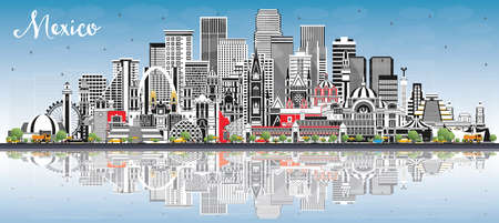 Mexico (Country) City Skyline with Gray Buildings, Blue Sky and Reflections. Vector Illustration. Historic Architecture. Mexico Cityscape with Landmarks. Puebla. Mexico. Tijuana. Guadalajara.