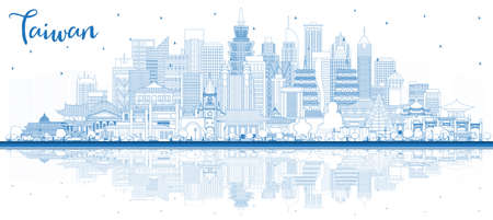 Outline Taiwan City Skyline with Blue Buildings and Reflections. Vector Illustration. Tourism Concept with Historic Architecture. Taiwan Cityscape with Landmarks. Taipei. Kaohsiung. Taichung. Tainan. 일러스트