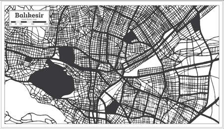 Balikesir Turkey City Map in Black and White Color in Retro Style. Outline Map. Vector Illustration. Çizim