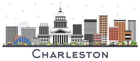 Charleston West Virginia City Skyline with Color Buildings Isolated on White. Vector Illustration. Business Travel and Tourism Concept with Historic and Modern Architecture. Charleston Cityscape with Landmarks.