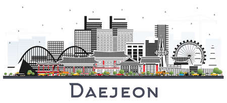 Daejeon South Korea City Skyline with Color Buildings Isolated on White. Vector Illustration. Business Travel and Tourism Concept with Historic and Modern Architecture. Daejeon Cityscape with Landmarks.