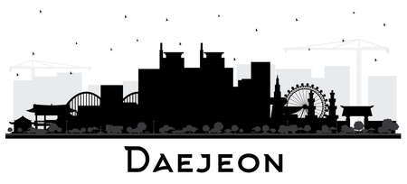 Daejeon South Korea City Skyline Silhouette with Black Buildings Isolated on White. Vector Illustration. Business Travel and Tourism Concept with Historic and Modern Architecture. Daejeon Cityscape with Landmarks.