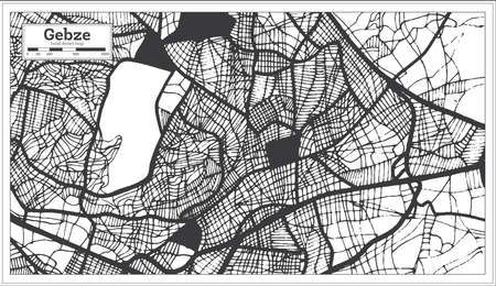 Gebze Turkey City Map in Black and White Color in Retro Style. Outline Map. Vector Illustration.