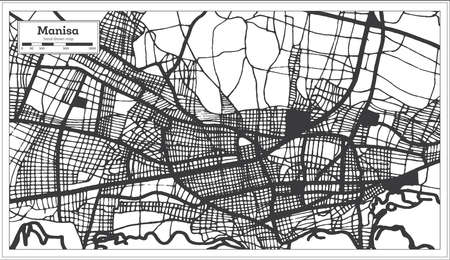 Manisa Turkey City Map in Black and White Color in Retro Style. Outline Map. Vector Illustration. Çizim