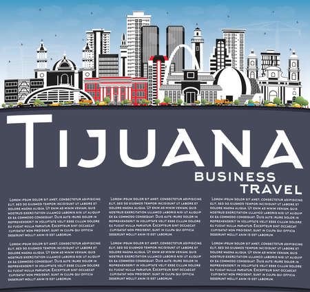Tijuana Mexico City Skyline with Color Buildings, Blue Sky and Copy Space. Tourism Concept with Historic and Modern Architecture. Tijuana Cityscape.