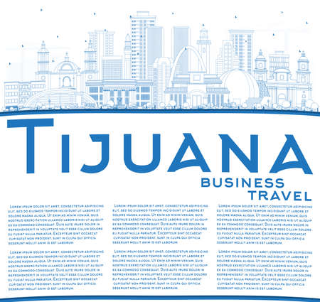 Outline Tijuana Mexico City Skyline with Blue Buildings and Copy Space illustration. Tourism Concept with Historic and Modern Architecture. Tijuana Cityscape with Landmarks.