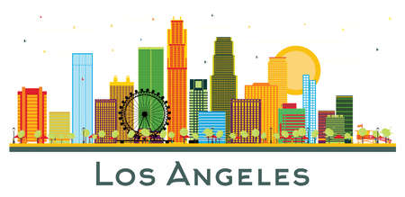 Los Angeles California City Skyline with Color Buildings Isolated on White. Vector illustration. Business Travel and Tourism Concept with Historic Architecture. Los Angeles USA Cityscape with Landmarks. Banco de Imagens - 150923789