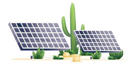 Two Solar Panels and Plants of Desert Isolated on White. Cactuses and Stones. Vector illustration. Ilustração