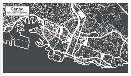 Genoa Italy City Map in Black and White Color in Retro Style. Outline Map. Vector Illustration.