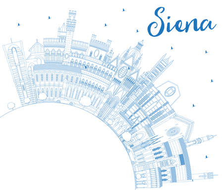 Outline Siena Tuscany Italy City Skyline with Blue Buildings and Copy Space.