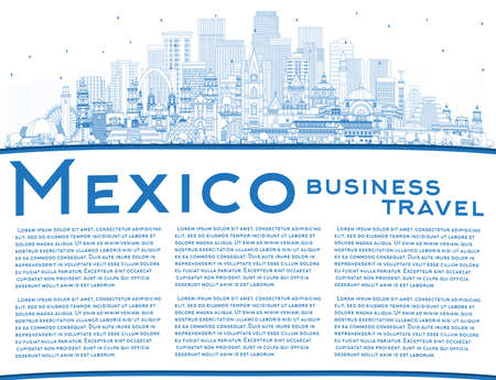 Outline Mexico (Country) City Skyline with Blue Buildings and Copy Space. Vector Illustration. Concept with Historic Architecture. Mexico Cityscape with Landmarks. Puebla. Mexico. Tijuana. Guadalajara.