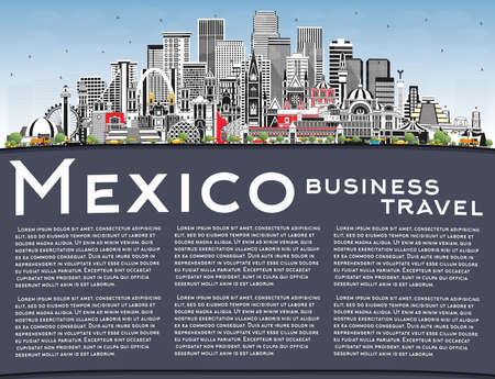 Mexico City Skyline with Gray Buildings, Blue Sky and Copy Space. Vector Illustration. Concept with Historic Architecture. Mexico Cityscape with Landmarks. Puebla. Mexico. Tijuana. Guadalajara.