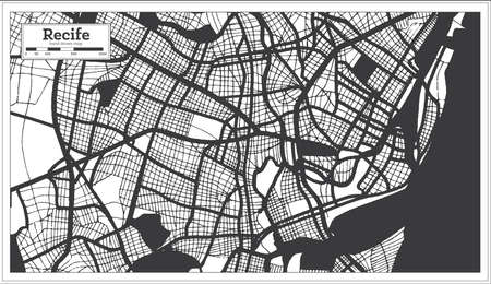 Recife Brazil City Map in Black and White Color in Retro Style. Outline Map. Vector Illustration.