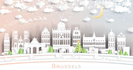 Brussels Belgium City Skyline in Paper Cut Style with Snowflakes, Moon and Neon Garland. Vector Illustration. Christmas and New Year Concept. Santa Claus on Sleigh.