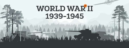 World War II 1939-1945. Vector Illustration. Military Concept with Tanks in Forest. Battleground. Theater of War. 矢量图像