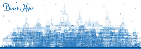 Outline Bien Hoa Vietnam City Skyline with Blue Buildings. Vector Illustration. Business Travel and Tourism Concept with Historic Architecture. Bien Hoa Cityscape with Landmarks. Illusztráció