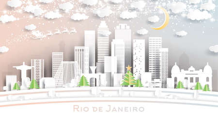 Rio de Janeiro Brazil City Skyline in Paper Cut Style with Snowflakes, Moon and Neon Garland. Vector Illustration. Christmas and New Year Concept. Santa Claus on Sleigh.