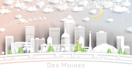 Des Moines Iowa USA City Skyline in Paper Cut Style with Snowflakes, Moon and Neon Garland. Vector Illustration. Christmas and New Year Concept. Santa Claus on Sleigh.