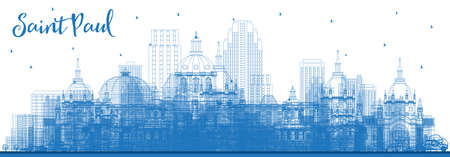 Outline Saint Paul Minnesota City Skyline with Blue Buildings. Vector Illustration. Business Travel and Tourism Concept with Modern Architecture. Saint Paul USA Cityscape with Landmarks.
