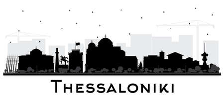 Thessaloniki Greece City Skyline Silhouette with Black Buildings Isolated on White. Vector Illustration. Travel and Tourism Concept with Historic and Modern Architecture. Thessaloniki Cityscape with Landmarks.