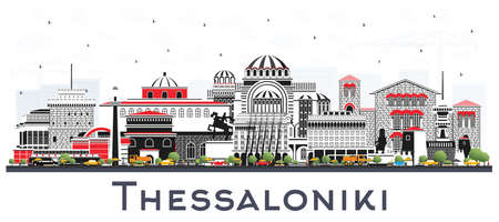 Thessaloniki Greece City Skyline with Color Buildings Isolated on White. Vector Illustration. Travel and Tourism Concept with Historic and Modern Architecture. Thessaloniki Cityscape with Landmarks.