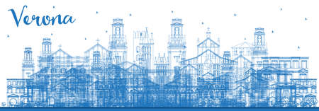 Outline Verona Italy City Skyline with Blue Buildings. Vector Illustration. Business Travel and Tourism Concept with Historic Architecture. Verona Cityscape with Landmarks.