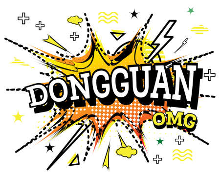 Dongguan Comic Text in Pop Art Style Isolated on White Background. Vector Illustration.