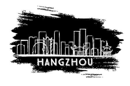 Hangzhou China City Skyline Silhouette. Hand Drawn Sketch. Business Travel and Tourism Concept with Historic Architecture. Vector Illustration. Hangzhou Cityscape with Landmarks.