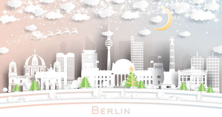 Berlin Germany City Skyline in Paper Cut Style with Snowflakes, Moon and Neon Garland. Vector Illustration. Christmas and New Year Concept. Santa Claus on Sleigh.