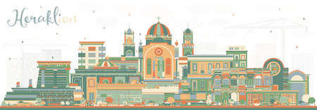 Heraklion Greece Crete City Skyline with Color Buildings. Vector Illustration. Tourism Concept with Historic and Modern Architecture. Heraklion Cityscape with Landmarks. Ilustração