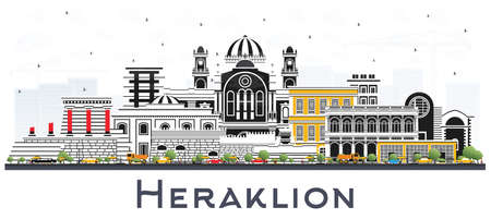 Heraklion Greece Crete City Skyline with Color Buildings Isolated on White. Vector Illustration. Tourism Concept with Historic and Modern Architecture. Heraklion Cityscape with Landmarks.
