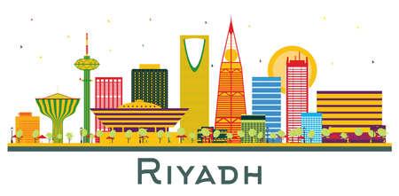 Riyadh Saudi Arabia City Skyline with Color Buildings Isolated on White.