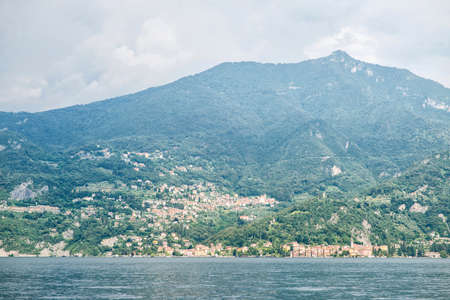 Como Lake Panoramic Landscape. Mountains with Trees. Italy. Europe.