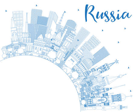 Outline Russia City Skyline with Blue Buildings and Copy Space. Vector Illustration. Tourism Concept with Historic Architecture. Russia Cityscape with Landmarks. Moscow. Saint Petersburg. 矢量图像