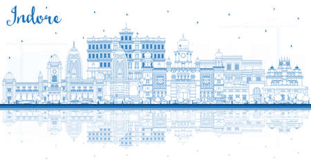 Outline Indore India City Skyline with Blue Buildings and Reflections. Vector Illustration. Tourism Concept with Historic and Modern Architecture. Indore Madhya Pradesh Cityscape with Landmarks.
