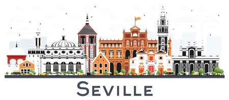 Seville Spain City Skyline with Color Buildings Isolated on White. Vector Illustration. Tourism Concept with Historic and Modern Architecture. Seville Cityscape with Landmarks. Çizim