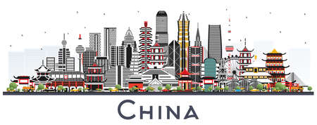 China City Skyline with Gray Buildings Isolated on White. Famous Landmarks in China. Vector Illustration. Business Travel and Tourism Concept with Modern Architecture. China Cityscape with Landmarks. 向量圖像