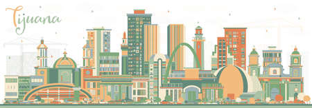 Tijuana Mexico City Skyline with Color Buildings. Vector Illustration. Tourism Concept with Historic and Modern Architecture. Tijuana Cityscape with Landmarks.