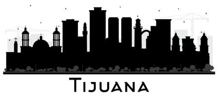 Tijuana Mexico City Skyline Silhouette with Black Buildings Isolated on White. Vector Illustration. Tourism Concept with Historic and Modern Architecture. Tijuana Cityscape with Landmarks.