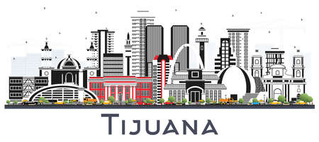 Tijuana Mexico City Skyline with Color Buildings Isolated on White. Vector Illustration. Tourism Concept with Historic and Modern Architecture. Tijuana Cityscape with Landmarks. Ilustración de vector